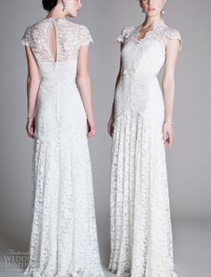 Custom made wedding dress with delicate lace, cap sleeves, keyhole back and waist ribbon. €220.00, via Etsy.