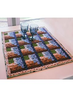 Quilting - Kitchen Patterns - Runner & Topper Patterns - Log Cabin Corners Table Topper
