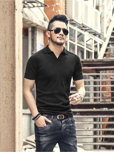 Men's Summer Cotton Short-Sleeved Slim Polo T-Shirt England Fashion, Polo T Shirts, Cotton Shorts, Spring Outfits, Mens Fashion, Suit Fashion, Slim, Sleeves, Mens Tops