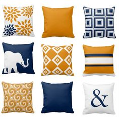 Throw Pillow Covers Navy Orange Pillow Couch Cushion Blue Orange Decor Home Decor Living Room Pillow Elephant Decor Geometric Pillow Orange Pillows, White Throw Pillows, Gold Pillows, Throw Pillow Covers, Accent Pillows, Gold Bedding, Couch Covers, Outdoor Throw Pillows, Living Room Orange
