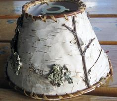 birch bark  lamp shade - rustic small   - green upcycled product made in USA $20.00