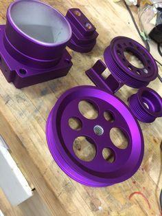 Purple + Matte Clear powder coating. Learn to powder coat at http://www.powdercoatguide.com/
