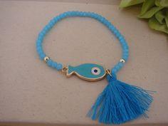 Gorgeous Blue Handmade Evil Eye Fish Tassel por ForThatSpecialDay