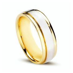 Wedding Ring Store: 14k Gold Two-Tone Plain Men's Wedding Band 7mm.