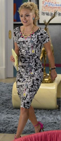 Carrie's black and white graphic printed knee length dress on The Carrie Diaries.  Outfit Details: http://wornontv.net/23882/ #TheCarrieDiaries