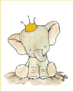 trafalgar's square Yellow Royal Elephant Crown Archival Print on today! Cute Elephant Drawing, Elephant Art, Elephant Tattoos, Elephant Nursery, Nursery Art, Elephant Drawings, Baby Animals, Cute Animals, Art Tumblr