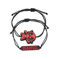 Marvel Deadpool Cord Bracelet Set Hot Topic ($15) ❤ liked on Polyvore featuring jewelry, bracelets, accessories, superheros, charm jewelry, adjustable bangle, cord bracelet, charm bangles and rope bracelet