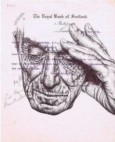 Mark Powell, 'spinning worlds make you dizzy (repetition)' Bic biro drawing on a 1914 letter Biro Drawing, Biro Art, Collages, Collage Art, Art Sketches, Art Drawings, Drawing Portraits, Biro Portrait, Mark Powell