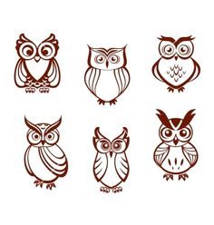Set of cartoon owls vector 1410337 - by Seamartini on VectorStock�