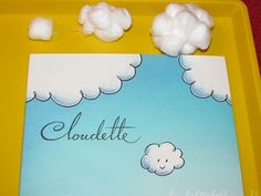 "Storytime ideas for clouds: ""Cloudette"" by Tom Lichtenheld, exploring size with cotton ball clouds, painting clouds with loofas."