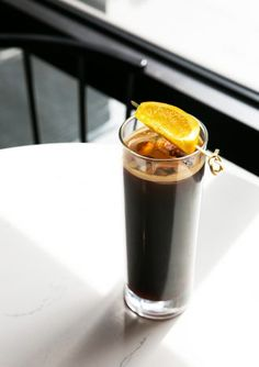 Orange Sweet Cream Cold-Brew - Imbibe Magazine - The Orange Sweet Cream Cold-Brew at Nashville's Bobby Hotel is served on nitro for creaminess, bu - Brandy Cocktails, Coffee Cocktails, Nashville, Fruit Ice Cubes, Cold Brew Coffee Recipe, Coffee Menu, Coffee Coffee, Coffee Shop, Nitro Cold Brew