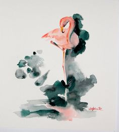 Pink Flamingo Watercolor Paintin Art Print by CanotStopPrints Flamingo Painting, Flamingo Art, Pink Flamingos, Watercolor And Ink, Watercolor Paintings, Painting Art, Watercolors, Watercolor Ideas, Bird Art