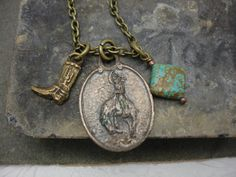 Cowboy Necklace Vintage Charm Necklace by jeweledfaith on Etsy https://www.etsy.com/listing/163241594/cowboy-necklace-vintage-charm-necklace