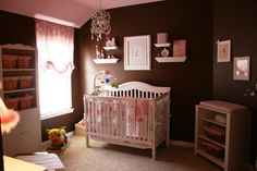 Pink and brown baby room for girls - If I had another girl this would be the colours I would have White Nursery Furniture, Brown Furniture, Ikea Furniture, Baby Room Decor, Baby Rooms, Room Baby, Kids Rooms, Baby Photos, Kids Bedroom
