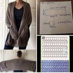 Crochet Jacket, Crochet Poncho, Crochet Scarves, Diy Crochet, Crochet Clothes, Crochet Hats, Crochet Wrap Pattern, Crochet Stitches Patterns, Crochet Shawls And Wraps