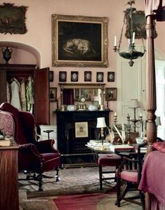 Room of the Day ~ antique-filled, pale pink walls, untouched since 1964 ~ English interior of Sir Albert Richardson leading English architect at his Bedfordshire home. World Of Interiors, Cottage Interiors, Country Interiors, French Interior, Classic Interior, English Country Decor, Country Style, Modern Country, French Country