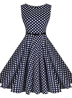 Miusol® Damen Sommerkleid Ärmellos 1950er Retro Polka Dots Faltenrock Cocktailkleid mit Gürtel Kleid Blau/Rot Größe 36-46, http://www.amazon.de/dp/B01233QTK6/ref=cm_sw_r_pi_awdl_nAQcwb1PN2SV2