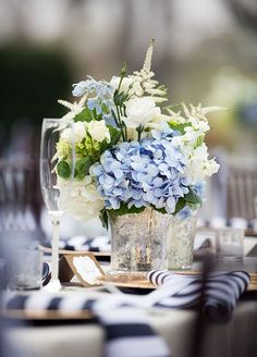 The combination of fresh blue hydrangeas and white flowers is so charming for an outdoor summer reception. Silk Flower Centerpieces, Table Centerpieces, Wedding Centerpieces, Wedding Table, Wedding Decorations, Table Flowers, Centrepieces, Wedding Reception, Wedding Ideas