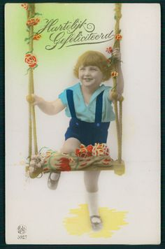 Art Deco 1920s original vintage photo postcard child swing girl boy smile | eBay