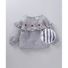 Babyoye Gray Cotton Striped With Top Star Embroidery Baby Frocks Designs, Kids Frocks Design, Baby Girl Dress Patterns, Baby Clothes Patterns, Kids Dress Wear, Toddler Girl Dresses, Girls Frock Design, Kids Ethnic Wear, Sewing Kids Clothes