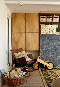 Leather modern rocking chair - wood floor fabulous - via JoJo's Room