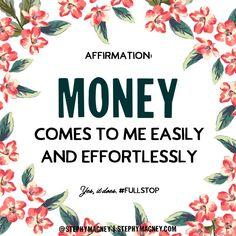 Vibrational Manifestation - Unblock the flow of abundance. Say this: Money comes to me easily and effortlessly. Bird Watcher Reveals Controversial Missing Link You NEED To Know To Manifest The Life You've Always Dreamed Wealth Affirmations, Law Of Attraction Affirmations, Law Of Attraction Quotes, Career Affirmations, Morning Affirmations, Positive Thoughts, Positive Vibes, Positive Quotes, Believe