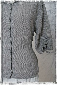 Isis Jacket in Slate Grey Victorian Sky Linen Cotton Houndstooth by Ivey Abitz. Sold out fabric from a previous collection, this was the last garment we had in this special fabric.