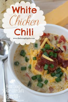 White Chicken & Bacon Chili is a perfect recipe to warm you up on a cold winter's day. I just love bacon and this chili has a lot of it! www.thefarmgirlgabs.com