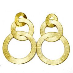 Three In-Line Brushed Circles Earring