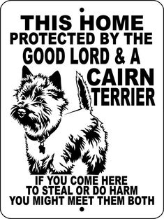 CAIRN TERRIER Dog Sign 9x12 Aluminum GLCT by animalzrule on Etsy, $12.00