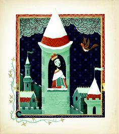 Stuart Kolakovic's breathtaking illustration for the first page of Carol Ann Duffy's Christmas poem, Wenceslas.