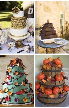 Second one w/pear is chocolate! 12 Rustic Autumn Wedding Cakes you'll Love