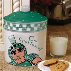 Michigan State Spartans Cookie Jar Ceramic Game Day Jar