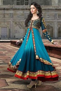 Anarkali Style Salwar Suit Dress; the colours of this is gorgeous!