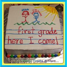 Kindergarten graduation cake. Saw this idea here on Pinterest and just had to make it for my nephew, so cute!