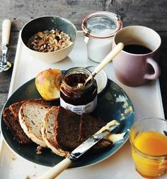 Perfect breakfast; fresh squeezed oj, grainy toast with good jam, granola, fresh fruit & coffee.