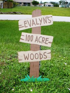 Customizable 100 Acre Woods Standing Sign Winnie the Pooh Party Western Winnie The Pooh Themes, Winnie The Pooh Birthday, Bear Birthday, 3rd Birthday Parties, 2nd Birthday, Birthday Ideas, Pooh Bebe, Bear Party, Baby Shower Signs