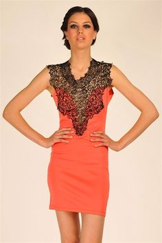 Vine Lace Dress - Coral