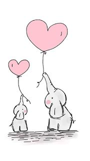 Shop Cute Heart Girl Pink Elephant Mommy & Baby Shower Classic Round Sticker created by BabyCreations. Deco Elephant, Elephant Balloon, Elephant Nursery Art, Elephant Design, Elephant Gifts, Cute Easy Drawings, Cute Animal Drawings, Cute Drawing Images, Doodle Drawings