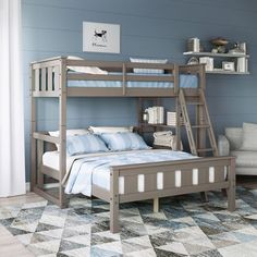 Take a look at this neat DIY bunk beds - what a creative design and style Bunk Beds For Girls Room, Bunk Bed Rooms, Loft Bunk Beds, Bunk Bed Plans, Bunk Beds With Stairs, Kids Bunk Beds, Bunk Bed Ideas For Small Rooms, Diy Bunkbeds, Bunk Beds Small Room