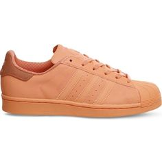 ADIDAS Superstar 1 leather trainers ($74) ❤ liked on Polyvore featuring shoes, sneakers, adidas, sun glow, round toe shoes, adidas sneakers, lacing sneakers, laced sneakers and adidas shoes