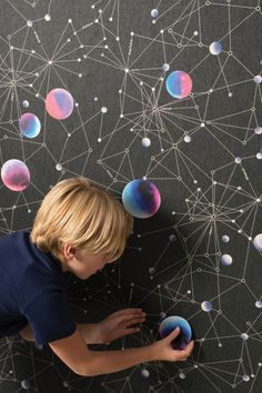 Buy online these wallpaper space stickers to decorate your Space Themed Mural or Galaxy Midnight Wallpaper. Soho, Galaxy Colors, Cool Kids Rooms, Kids Room Wallpaper, Wallpaper Direct, Colour Board, New Crafts, Designer Wallpaper, Boy Room
