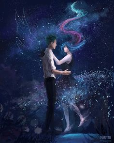 Read Galaxy anime from the story Imágenes de todo tipo by Yo_Soy_Troll (¿Ontas we? Konosuba Wallpaper, Couple Wallpaper, Galaxy Wallpaper, Couple Manga, Couple Art, Anime Galaxy, Galaxy Art, Fantasy Kunst, Fantasy Art
