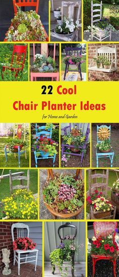 Decor Chair What do you do with an old or simply unnecessary chairs? You will throw them. But wait! You can grow plants in them and here in this article you will 22 creative cool chair planter ideas for your inspiration. Flower Planters, Garden Planters, Patio Plants, Outdoor Planters, Balcony Garden, Flowers Garden, Container Plants, Container Gardening, Organic Gardening