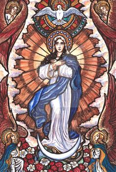"Our Lady of the Gate of Dawn November 16th 2012 Watercolor and Ink 8.5 by 11 inches ""Who is she that rises forth like the dawn, fair as the moon, pure and bright as the sun, and as terrible as a ma..."