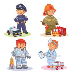 Buy Icons Set of Small Children by vectorpocket on GraphicRiver. Set of vector icons of small children police, firefighter, astronaut, doctor with their vehicles Boy Illustration, Illustrations, Character Illustration, Kid Character, Character Design, Boy Cartoon Characters, Abc Coloring Pages, Books For Boys, Free Logo