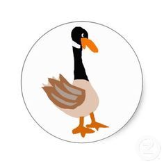 Silly Goose Primitive Art Sticker #goose #stickers #art #primitive #funny #zazzle