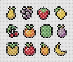 Fruit Salad Cross Stitch !!  You could do them all , or just one !!!  Cute Kawaii 8 bit style !