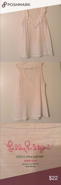 White Lilly Pulitzer Tank Top *Worn twice *Very slight yellow stains that I am getting out now :)  ---- (will edit with updates on yellowness) Lilly Pulitzer Tops Tank Tops