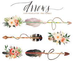 Watercolor wild arrows clip art /hand drawn by GraphicSafari